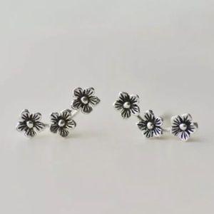 Flower Vine .925 Sterling Silver Earrings